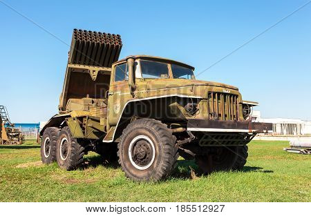 Samara Russia - May 2 2016: BM-21 Grad 122-mm Multiple Rocket Launcher on Ural-375D chassis in summer day