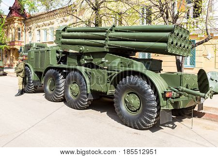 Samara Russia - May 6 2017: Soviet self-propelled multiple rocket launcher system BM-27 Uragan (Hurricane) on ZIL-135 chassis at the city street