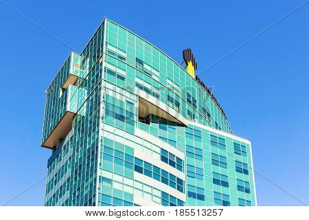 Samara Russia - May 7 2017: The emblem of the oil company Rosneft on the office building. Rosneft is one of the largest russian oil companies
