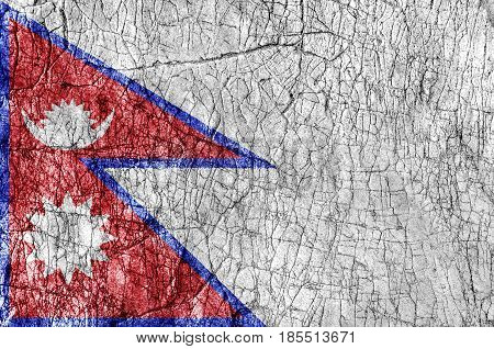 Grudge stone painted Nepal flag close up