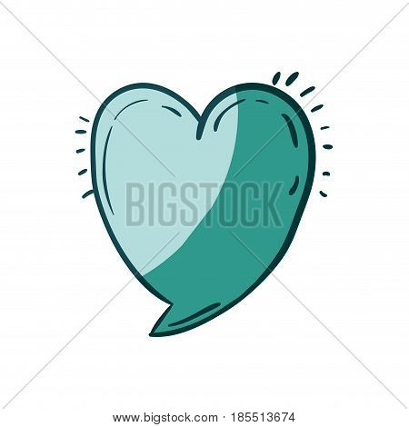 aquamarine hand drawn of speech in form of heart vector illustration