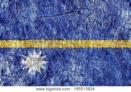 Grudge stone painted Nauru flag close up