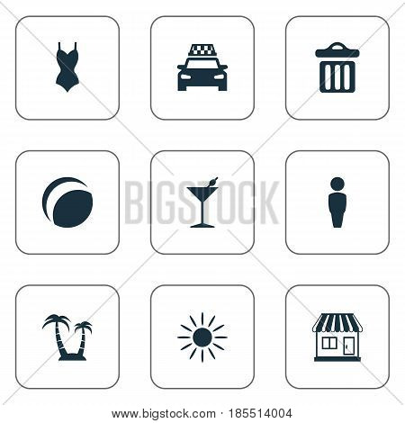 Vector Illustration Set Of Simple Seaside Icons. Elements Beach Games, Palm, Cocktail And Other Synonyms Beachwear, Trash And Sunshine.