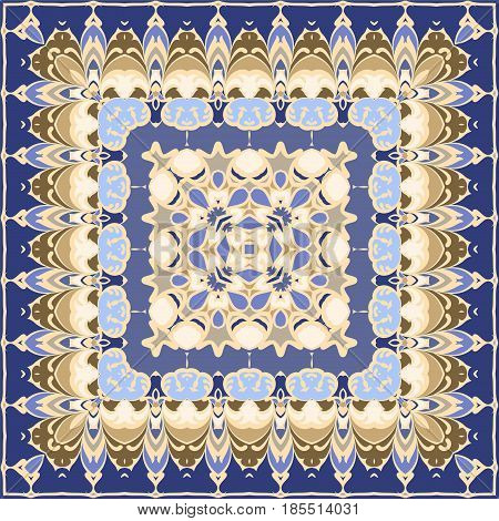 A vivid Oriental pattern square shape for a scarf. Vector illustration.