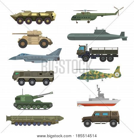 Military technic army, war tanks and military industry technic armor tanks collection. Military equipment and armor tanks, helicopter, hurricane, missile system submarine, armored personnel carriers