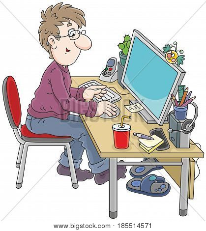 Computer user at work. Vector illustration of a man sitting at his desk in front of a computer monitor