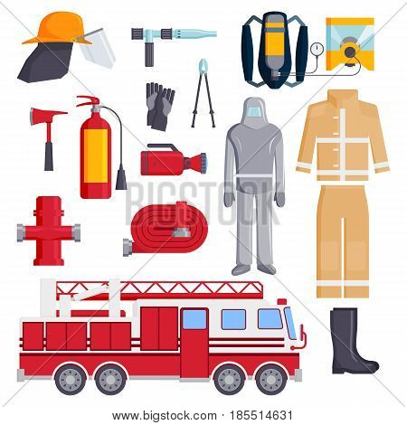 Set of designed firefighter elements coloured fire department emergency icons and water safety danger equipment fireman protection vector illustration. Burning house fighter flat emblem tool.