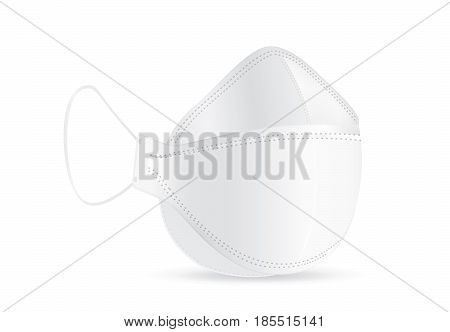 Vector Dust Mask isolated on white background in side view.