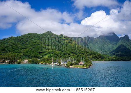 Moorea Island Harbor And Pacific Ocean Lagoon Landscape