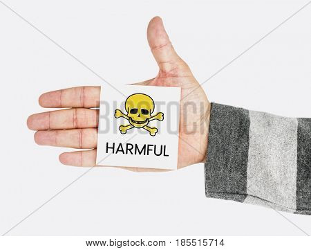 Hand showing memo with skull icon and dangerous toxin word poster
