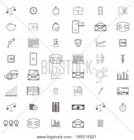 Simple Set ofBusinessand Finance Vector Line artIcons. Contains suchIconsascredit card, diagram, mail, safe box, calendar, phone, scales, piggy and more.