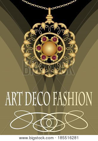 Luxurious art deco necklace with red gems ruby or garnet, fashion in victorian style, antique jewel, vector EPS 10