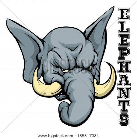 An illustration of a cartoon elephant sports team mascot with the text Elephants