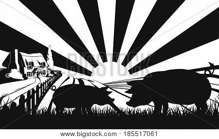 Pigs in silhouette standing in the foreground and an a farm house thatched cottage in an idyllic landscape of rolling hills with sunrise in the background