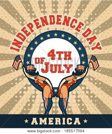 Vector illustration of a retro poster of Independence Day america two girls in tights and hats with national signs