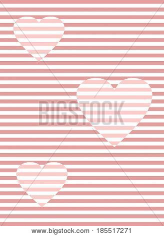 Romantic overlay template with hearts in optical art style, tender pink color, striped background, vector EPS 10