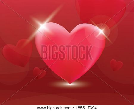 Heart symbol romantic love vector background. Greeting festive gift card template. Invitation decor pattern.