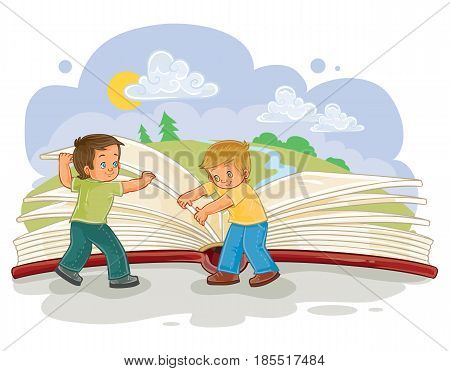illustration of little boys turn pages great book, read the book of life. Metaphor