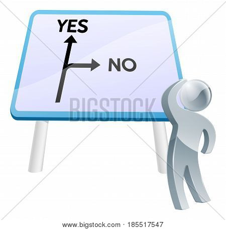 A man looking up at a direction road sign with the words yes and no on it