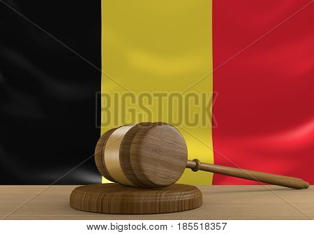 Belgium law and court justice system with national flag, 3D rendering