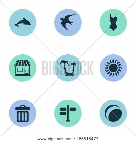 Vector Illustration Set Of Simple Beach Icons. Elements Crossroad, Mammal Fish, Bikini And Other Synonyms Store, Beach And Crossroad.