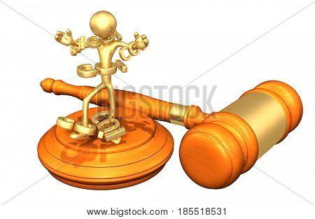 Conflict Of Interest Legal Gavel Concept 3D Illustration