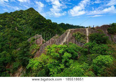 Wild mountainous landscape and tropical jungle along the Wu Liao Jian hiking trail in Taiwan