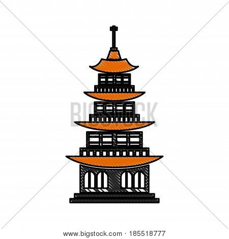 drawing chinese building ancient temple tower pagoda vector illustration