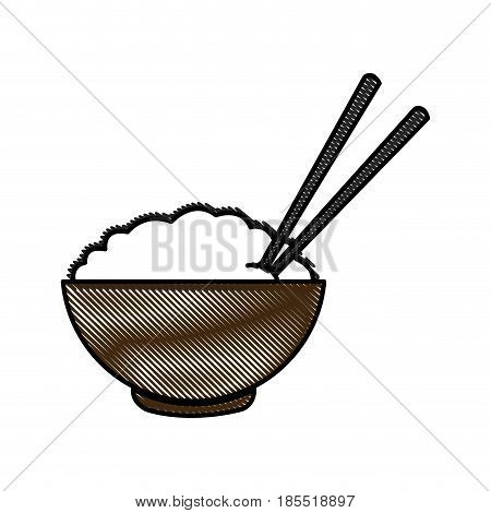 drawing bowl of rice and chopsticks cooked dinner asian vector illustration