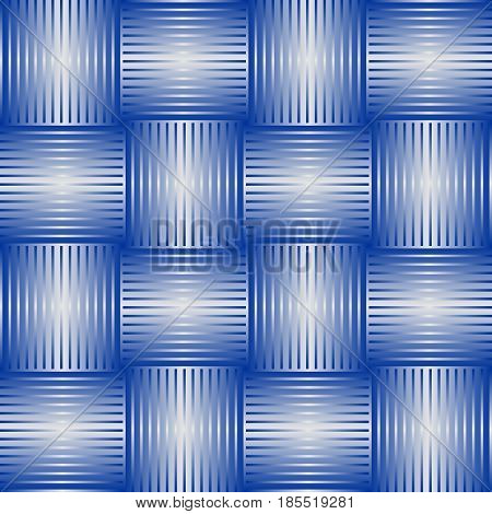 Seamless abstract background with blue checker patterns in metallic design, 3d optical art illusion, vector EPS 10