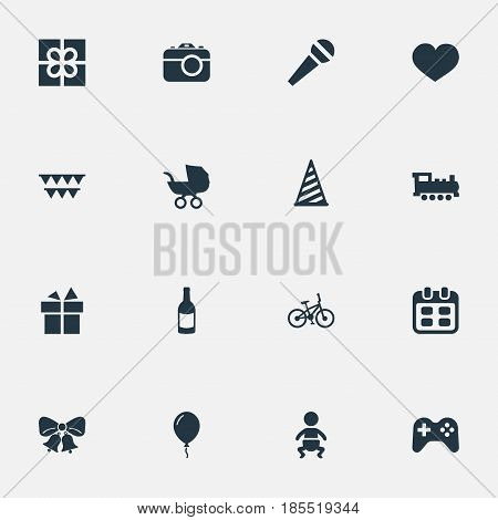Vector Illustration Set Of Simple Celebration Icons. Elements Ribbon, Aerostat, Resonate And Other Synonyms Party, Microphone And Gift.