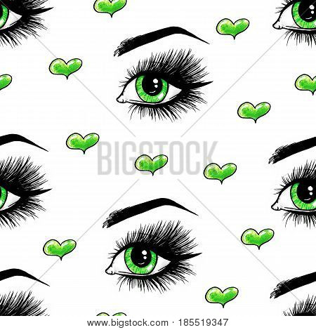 Beautiful open female green eyes with long eyelashes is isolated on a white background. Makeup template illustration with hearts. Color sketch handwork. Seamless pattern for design