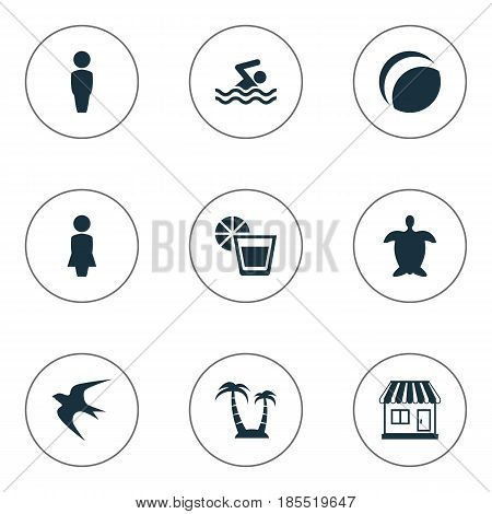 Vector Illustration Set Of Simple Seaside Icons. Elements Woman, Palm, Swimming Man And Other Synonyms Gentleman, Swallow And Ball.