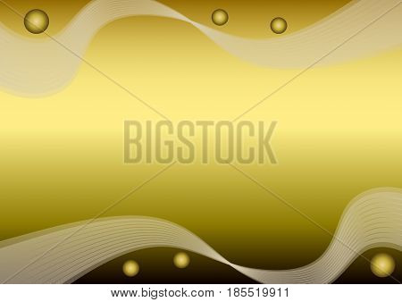 Golden paper with wavy patterns and gradient balls, blank luxurious background for own message, elegant noble overlay template, vector EPS 10