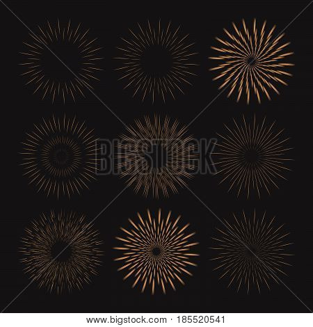 Grunge collection of retro hand drawn sunbursts isolated on black background. Set of vintage doodle sun logo, labels, badges. Abstract firework design. Vector illustration