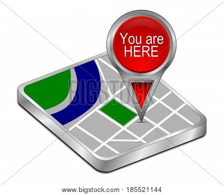 red You are Here Map Pointer - 3D illustration