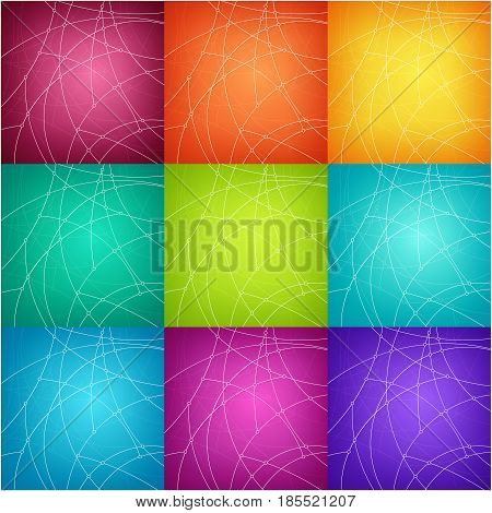 Set of Abstract Geometric Backgrounds of the Curves Unfinished Lines and Nodes on Colorful Background Vector Illustration