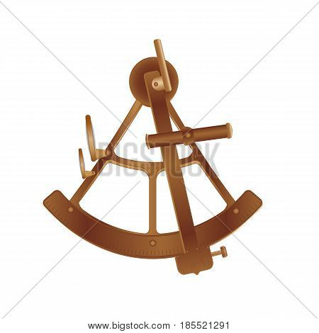 vector illustration. old bronze sextant isolated on white background