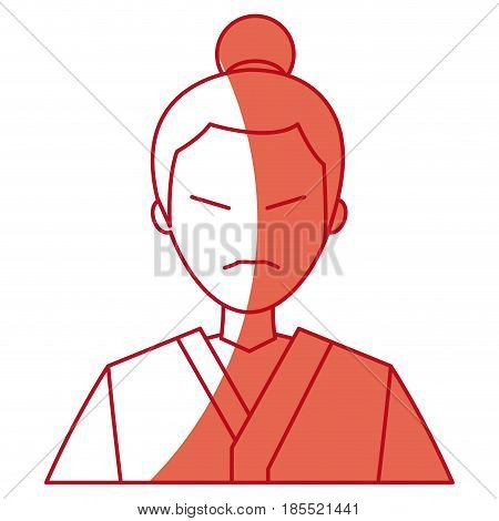 character japanese man clothes culture red line vector illustration
