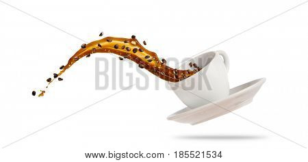 Porcelain white cup with splashing coffee liquid isolated on white background. Hot drink with splash, beverages and refreshment.
