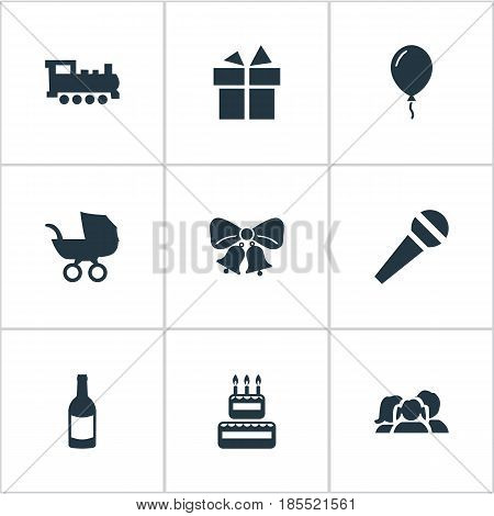 Vector Illustration Set Of Simple Birthday Icons. Elements Baby Carriage, Aerostat, Ribbon And Other Synonyms Fizz, Resonate And Champagne.