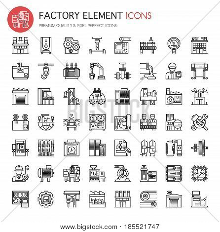Factory Elements ,Thin Line and Pixel Perfect Icons