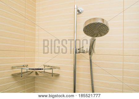 Modern luxury shower cabin with fixed sprinkler and soap dish