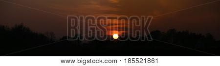 Panoramic High Contrast Image Of Sunset Near Greifswald, Germany