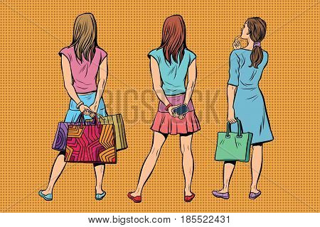 Beautiful young woman in a dress and the skirt is back. Viewers and audience. A set of human shapes silhouettes. Pop art retro vector illustration