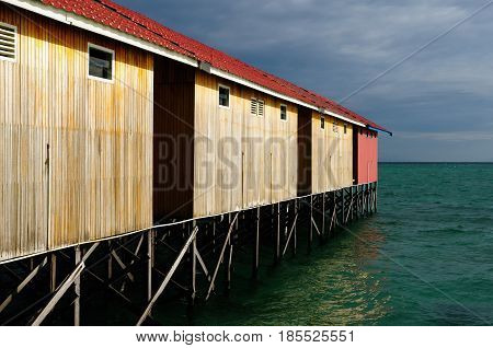 Houses on stilts on the sea in Indonesia