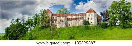 Panorama of the Svirzh Castle built in the 15th century in Lviv region Ukraine
