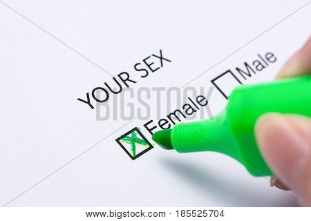 FEMALE Gender check box on paper. Check box on paper