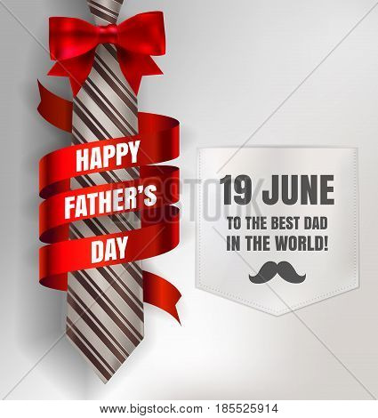 Happy Father's Day Background Template With Man Brown Tie And White Shirt With Red Bow And Ribbon Fo
