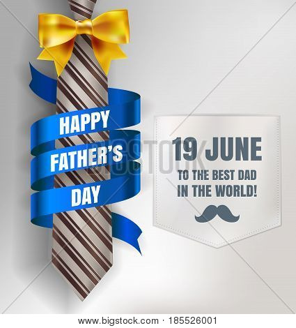Happy Father's Day Background Template With Man Brown Tie And White Shirt With Gold Bow And Blue Rib